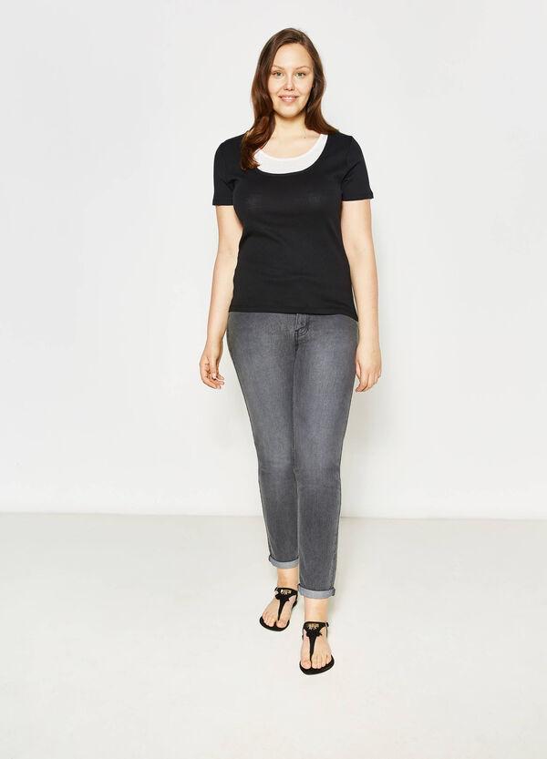 Curvy faux layered cotton T-shirt | OVS