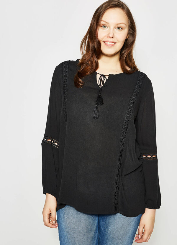 Curvy blouse with openwork inserts | OVS