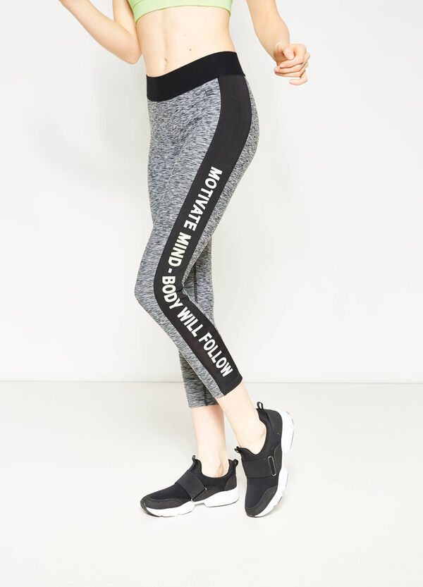Leggings crop con stampa lettering | OVS