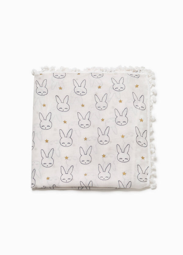 Rabbit patterned viscose pashmina | OVS