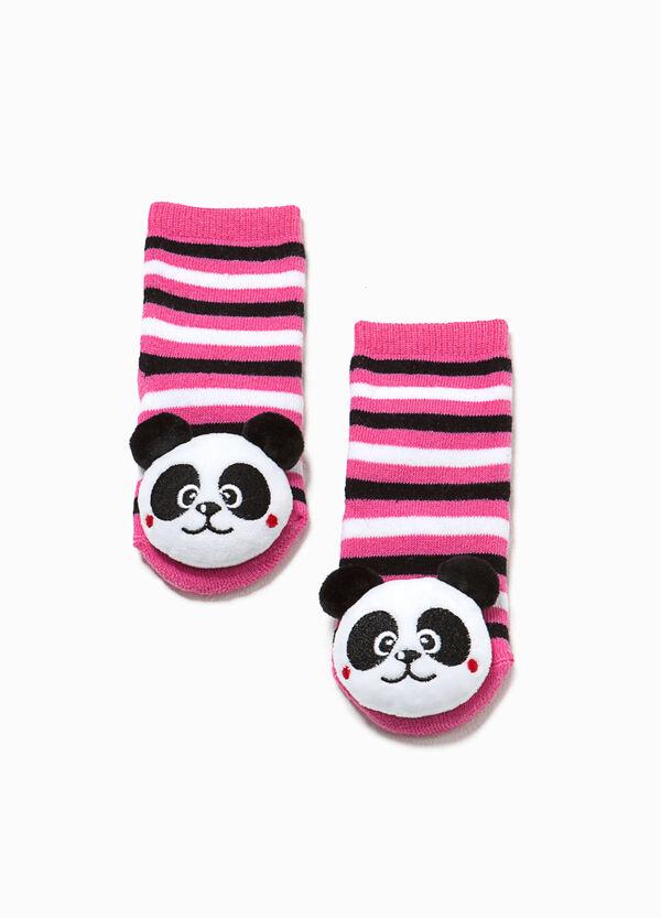 Striped slipper socks with panda | OVS