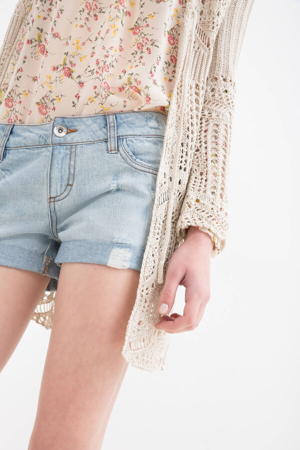 Denim shorts with rips and worn effect | OVS