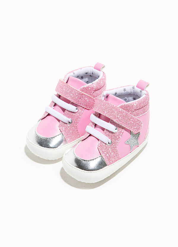 High-top glitter sneakers with star | OVS
