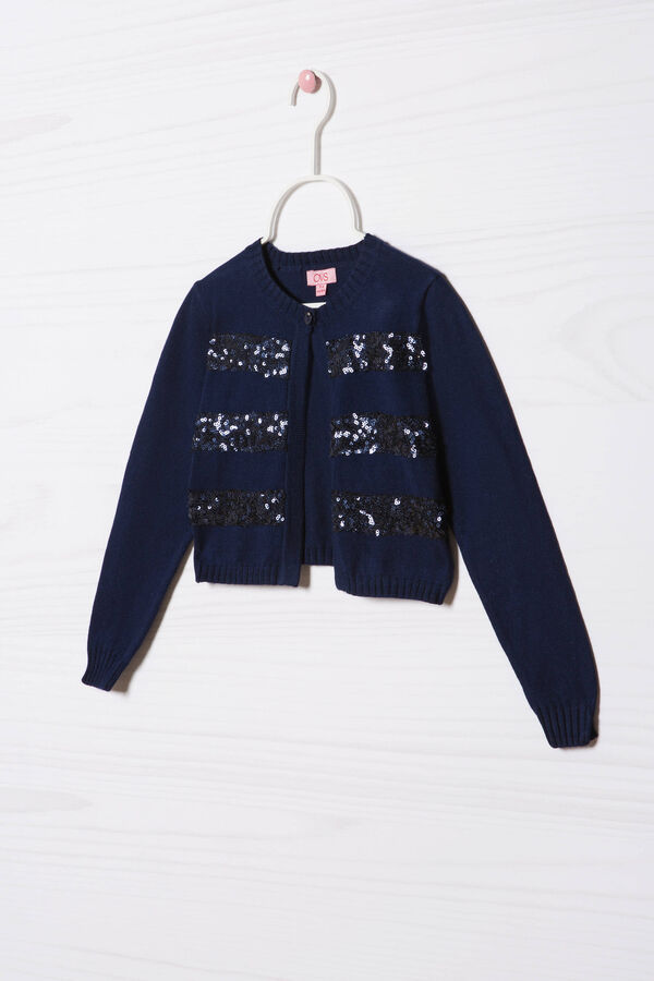 Cotton blend sequinned cardigan | OVS
