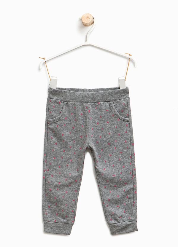 Stretch cotton trousers with lettering | OVS