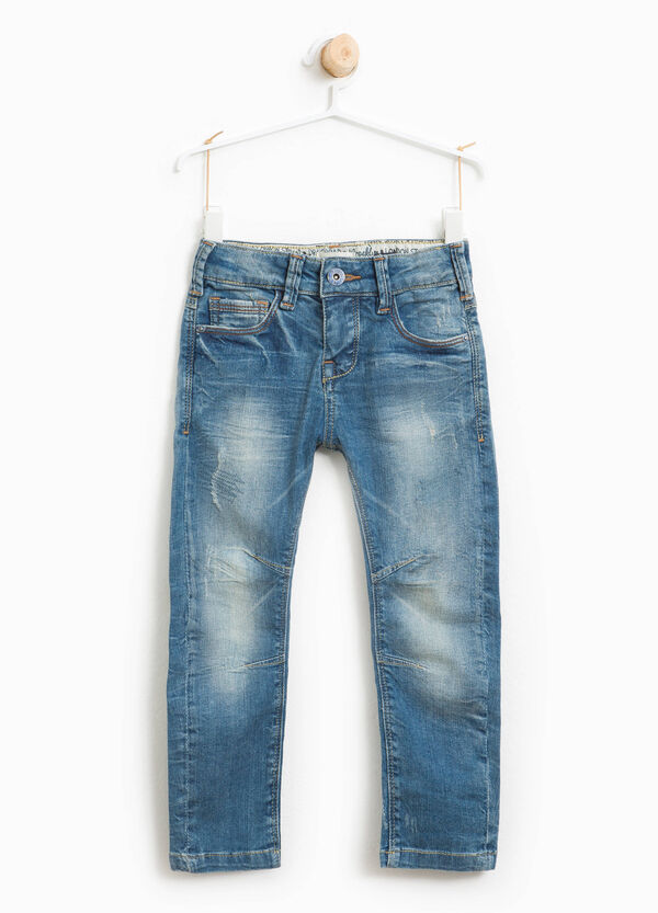 Jeans stretch effetto used con abrasioni | OVS