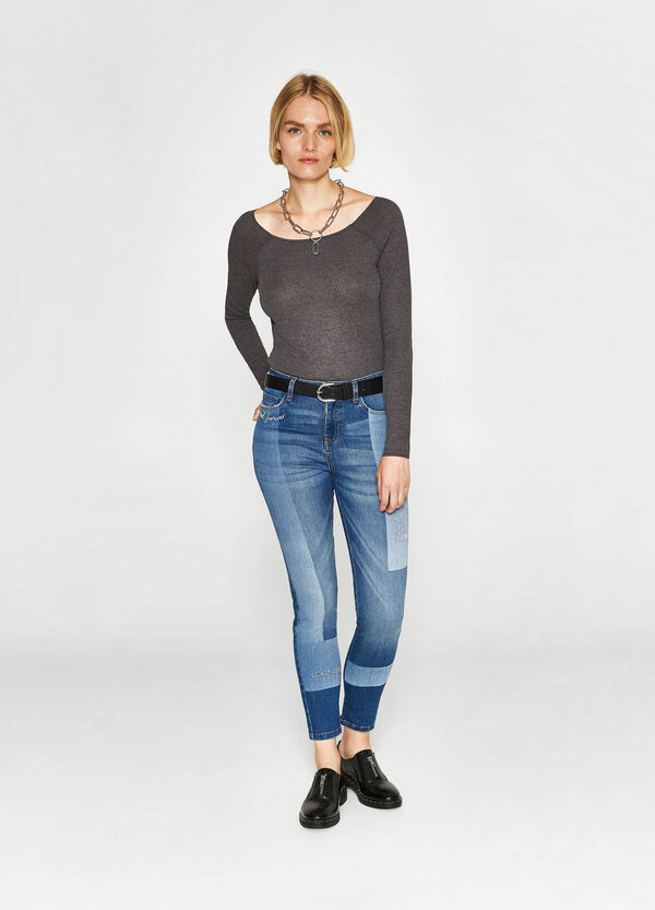 Jeans skinny fit stretch ricami lettering | OVS