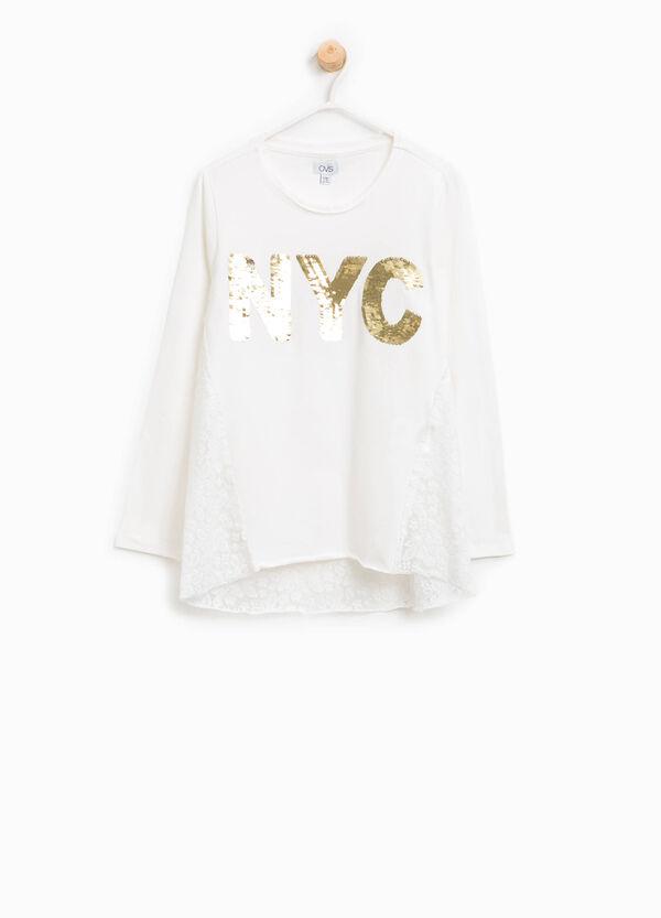 T-shirt in cotone con pizzo e paillettes | OVS