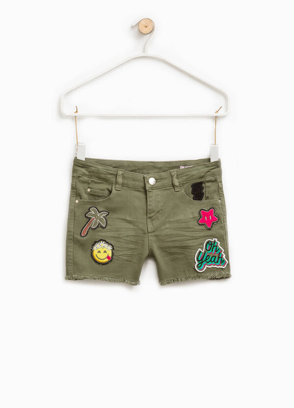 Stretch shorts with whiskering and patches | OVS
