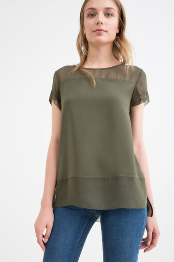 Blouse with semi-sheer insert