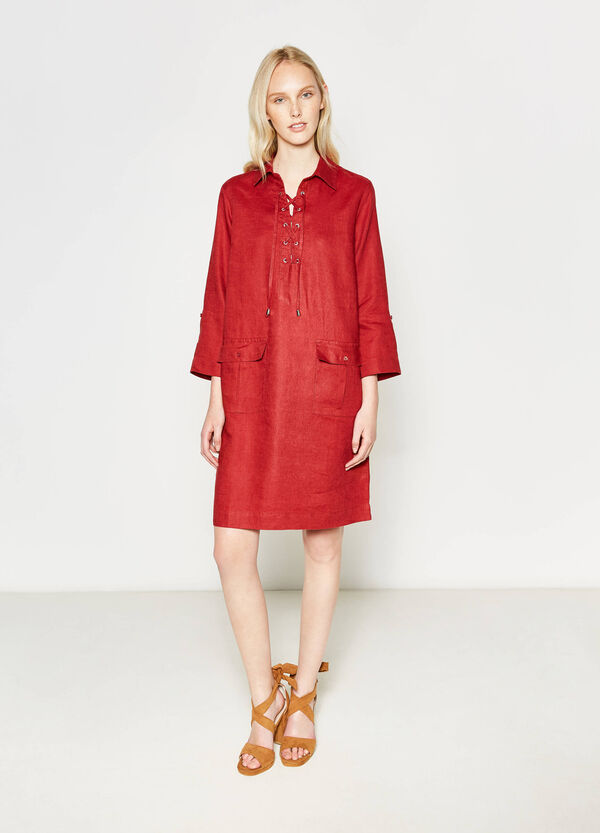 Linen shirt dress with ties | OVS