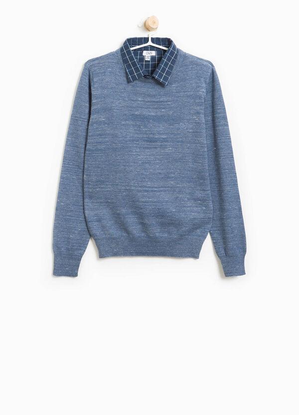 Pullover in cotone con colletto a quadri | OVS