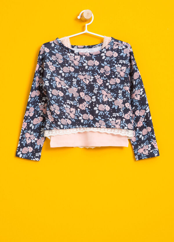 All-over floral print crop T-shirt | OVS