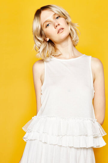 Viscose top with tulle flounce