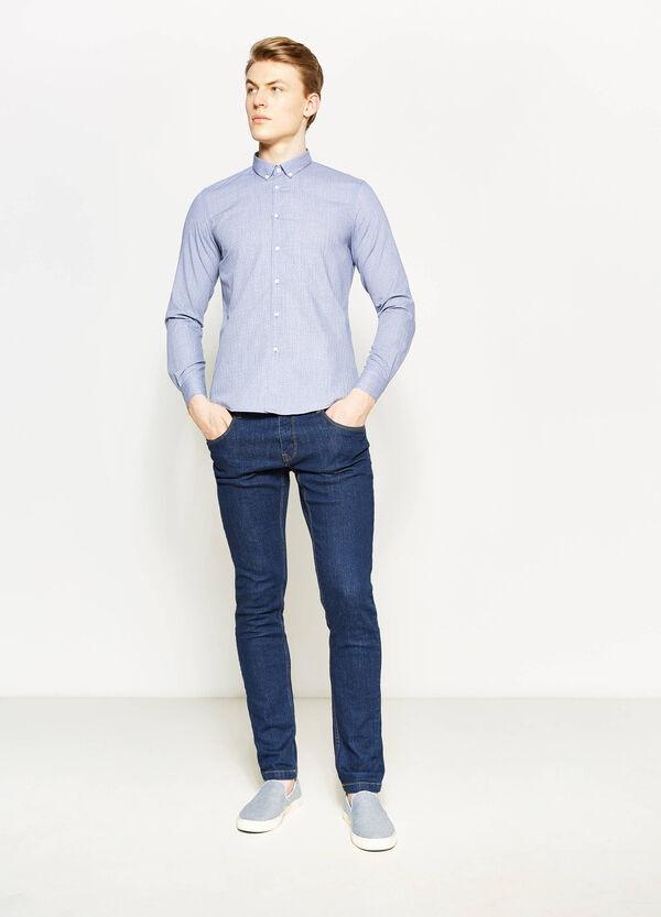 Camicia casual in cotone micro quadri | OVS
