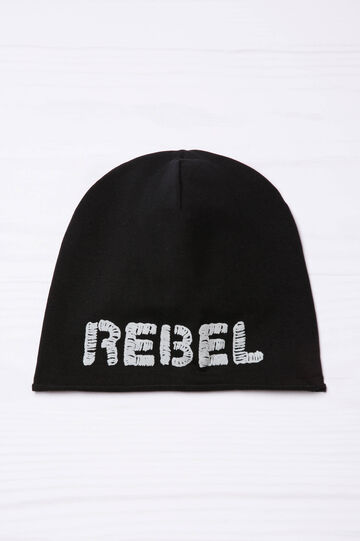 Beanie cap with embroidered lettering