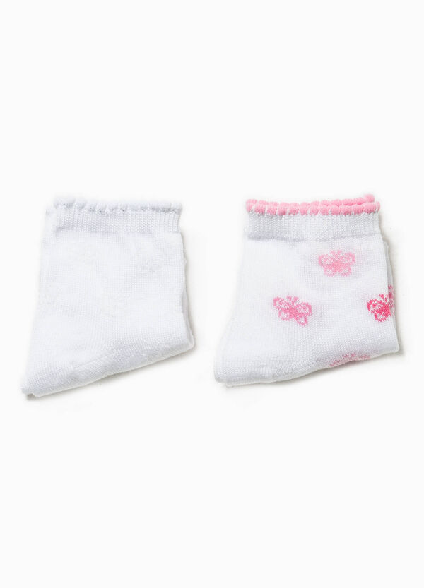 Two-pair pack solid colour and floral socks | OVS
