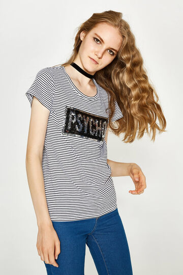Sequinned T-shirt in 100% cotton