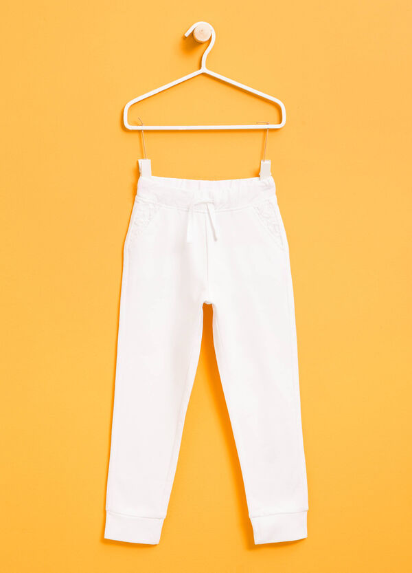 Stretch cotton joggers with lace | OVS