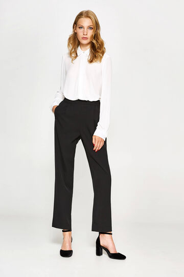 Stretch trousers with pleating