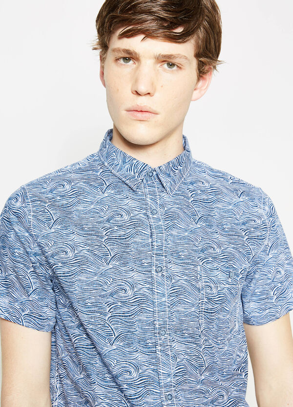 Printed casual shirt with short sleeves | OVS