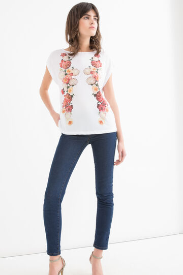 Cotton T-shirt with floral pattern