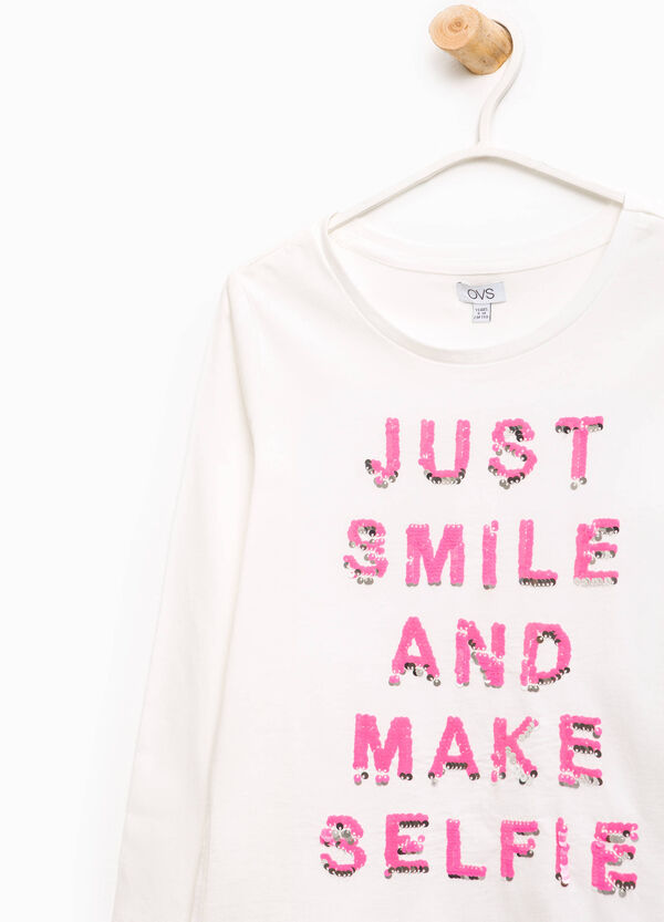T-shirt in cotone paillettes lettering | OVS