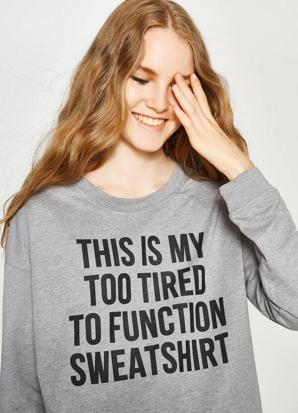 Printed cotton crop sweatshirt | OVS