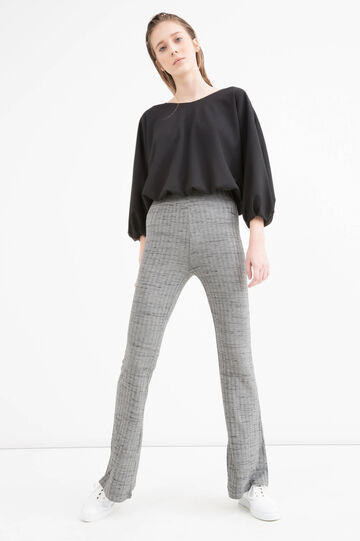Flared viscose blend trousers