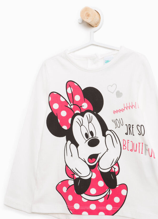 T-shirt in cotone stampa Minnie glitterata | OVS