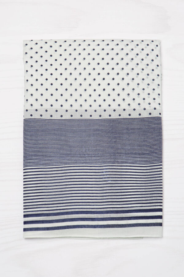 Striped and polka dot scarf in 100% cotton | OVS