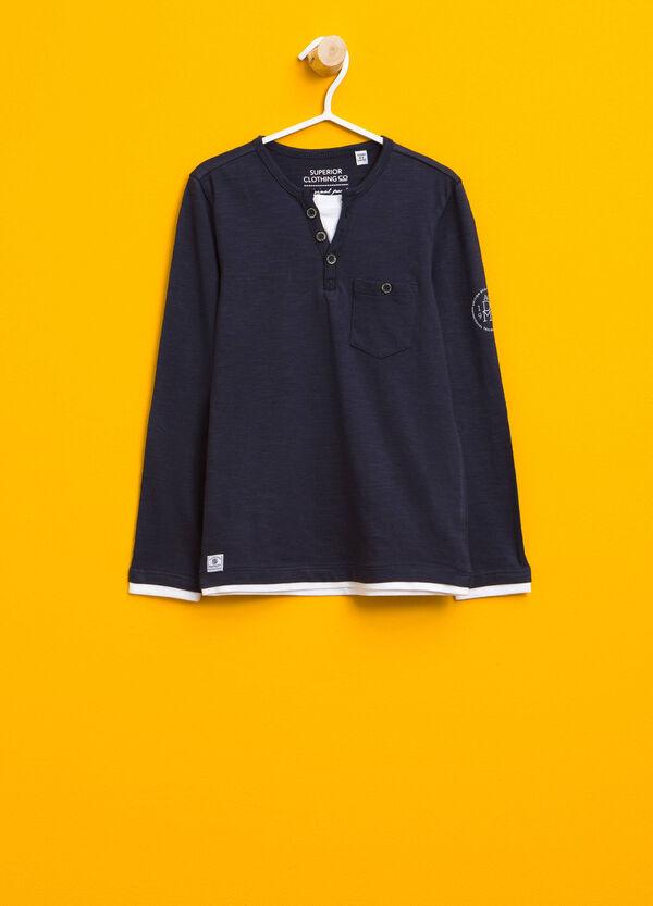 T-shirt in cotone con finto doppio | OVS