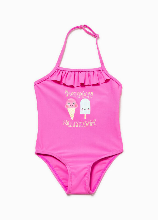 One-piece printed swimsuit with flounce | OVS