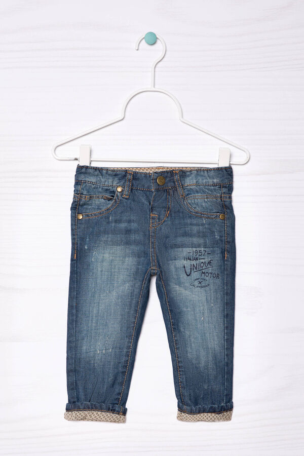 Jeans with printed lettering   OVS