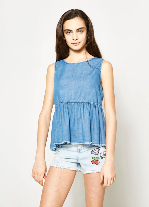 Teen sleeveless denim blouse | OVS
