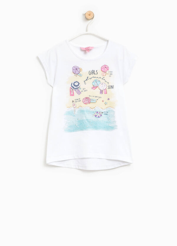 Cotton T-shirt with glitter print | OVS