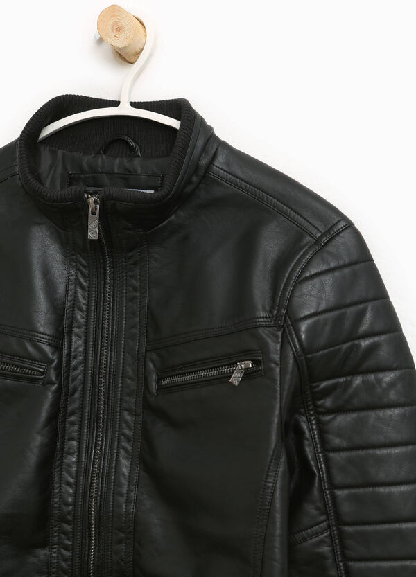 Leather look jacket with stitching | OVS