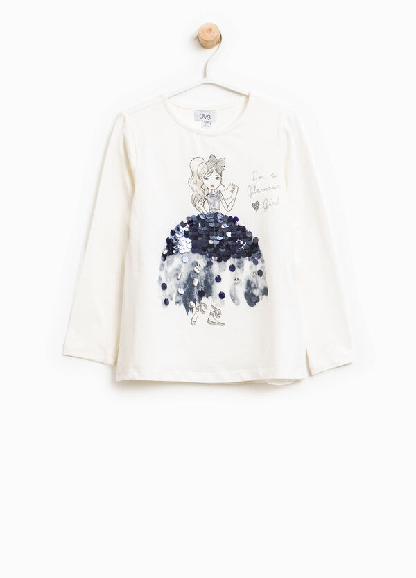 Printed T-shirt in cotton with sequins | OVS